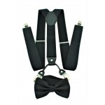 9001S/B-BLACK SUSPENDER BOW TIE SET (BLACK)