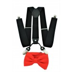 9001S/B-BLACK SUSPENDER BOW TIE SET (RED)