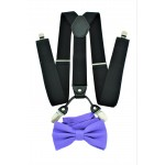 9001S/B-BLACK SUSPENDER BOW TIE SET (PURPLE)