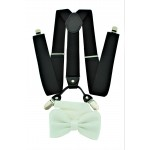 9001S/B-BLACK SUSPENDER BOW TIE SET (WHITE)
