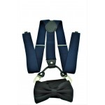 9001S/B-NAVY SUSPENDER BOW TIE SET (BLACK)