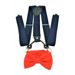 9001S/B-NAVY SUSPENDER BOW TIE SET (RED)