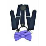 9001S/B-NAVY SUSPENDER BOW TIE SET (PURPLE)