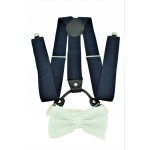 9001S/B-NAVY SUSPENDER BOW TIE SET (WHITE)