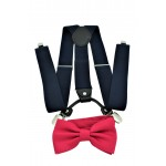 9001S/B-NAVY SUSPENDER BOW TIE SET (HOT PINK)