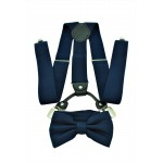 9001S/B-NAVY SUSPENDER BOW TIE SET (NAVY)