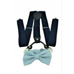 9001S/B-NAVY SUSPENDER BOW TIE SET (GRAY)
