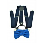 9001S/B-NAVY SUSPENDER BOW TIE SET (BLUE)