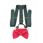 9001S/B-GRAY SUSPENDER BOW TIE SET (HOT PINK)