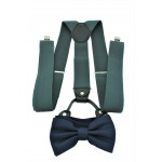 9001S/B-GRAY SUSPENDER BOW TIE SET (NAVY)