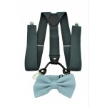 9001S/B-GRAY SUSPENDER BOW TIE SET (GRAY)