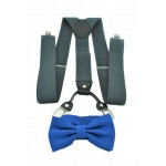 9001S/B-GRAY SUSPENDER BOW TIE SET (BLUE)