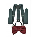 9001S/B-GRAY SUSPENDER BOW TIE SET (BURGUNDY)