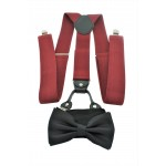 9001S/B-BURGUNDY SUSPENDER BOW TIE SET (BLACK)