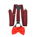 9001S/B-BURGUNDY SUSPENDER BOW TIE SET (RED)