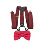 9001S/B-BURGUNDY SUSPENDER BOW TIE SET (HOT PINK)