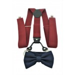 9001S/B-BURGUNDY SUSPENDER BOW TIE SET (NAVY)
