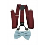 9001S/B-BURGUNDY SUSPENDER BOW TIE SET (GRAY)