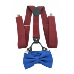 9001S/B-BURGUNDY SUSPENDER BOW TIE SET (BLUE)