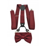 9001S/B-BURGUNDY SUSPENDER BOW TIE SET (BURGUNDY)
