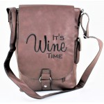 9002B - DARK BROWN LEATHER (PU) WINE BAG WITH (IT'S WINE TIME) MONOGRAMMED