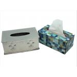 80021 - FLEUR DE LIS RECT. TISSUE BOX / W HAMMERED
