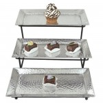 1209-THREE ALUMINIUM TRAY W/IRON STAND