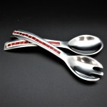 50917- SERVING SET W/ RED GLASS INLAY