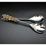 52247-PLAIN SERVING SET W/ AMBER GLASS BEADS