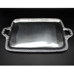 1272 - LARGE RECTANGULAR BEADED TRAY /W HANDLE