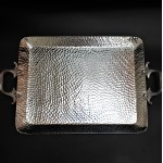 3497-HAMMERED LARGE TRAY W/HANDLE