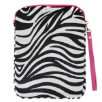 180623PK-BLACK/WHITE ZEBRA STRIPES W/PINK HANDLE DESIGN IPAD 2 ,3 AND NEW IPAD COVER