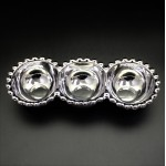 YM-318A-SILVER PORCELAIN BEADED 3 DIP TRAY (MINIMUM 2)
