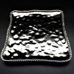 SC23A-SILVER PORCELAIN BEADED SQUARE TRAY (MINIMUM 2)