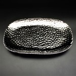 SC319A-SILVER PORCELAIN HAMMERED LARGE OVAL TRAY (MINIMUM 2)