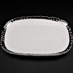 SC320B-WHITE PORCELAIN HAMMERED MEDIUM OVAL TRAY (MINIMUM 2)
