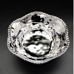 WH101-SILVER PORCELAIN BEADED ROUND BOWL (MINIMUM 2)