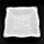 WH110-WHITE PORCELAIN SMALL BEADED SQUARE BOWL (MINIMUM 2)