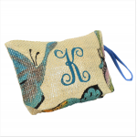 61849S-BL SMALL BUTTER FLY POUCH BAG W/BLUE  HANDLE