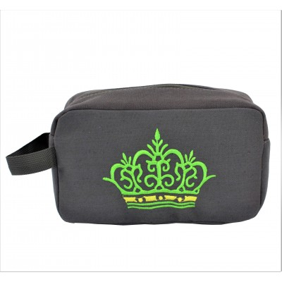9237- GRAY CROWN COSMETIC BAG