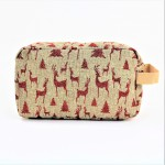 9248- BEIGE & RED REINDEER COSMETIC BAG