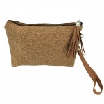 9176 - CORK AND GLITTER POUCH COSMETIC SMALL BAG