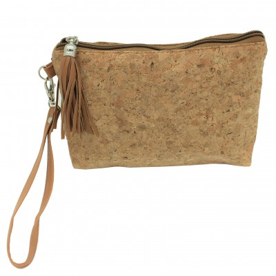 9175G - CORK AND GLITTER POUCH COSMETIC SMALL BAG