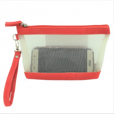 9172 - CORAL NET SEE THROUGH COIN POUCH OR COSMETIC/MAKEUP BAG