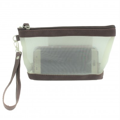 9172 - BROWN NET SEE THROUGH COIN POUCH OR COSMETIC/MAKEUP BAG