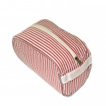 32707 - RED COTTON SEERSUCKER COSMETIC BAG