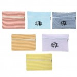 32716-6 COLORS - 6 PIECE SEERSUCKER WALLET BAG/ COSMETIC BAG (6 COLORS)