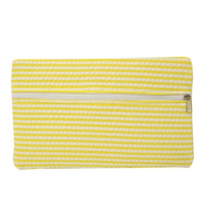 32723 - YELLOW SEERSUCKER WALLET BAG/ COSMETIC BAG