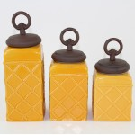 60002YL-RING-COP CERAMIC CANISTER SET ROPE YELLOW W/ RING COPPER LIDS