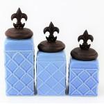 60002BLUE-FDL-COP-CERAMIC CANISTER SET ROPE BLUE W/ FDL COPPER LIDS